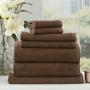 Renee Taylor Cobblestone 650 GSM Cotton Ribbed Bath Collection Toffee