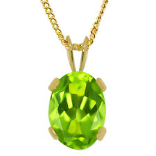 """0.80 Ct Oval Cut Green Peridot Gold Plated Pendant with 18"""" Chain"""