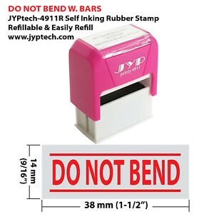 Do Not Bend w. 2 Bars JYP 4911R Self Inking Rubber Stamp (Red Ink)