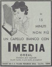 V0038 Tintura per capelli IMEDIA Oreal - Pubblicità d'epoca - 1938 advertising