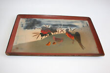Vintage Chinese Wooden Hand Painted Rooster Chick Lacquer Tray Plate - Marks