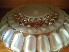 """VINTAGE CLEAR & FROSTED GLASS LAMP SHADE W/CEILING FIXTURE COLUMN -15.25"""""""