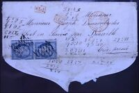 LETTRE ANCIENNE 1852 PAIRE TIMBRE CÉRÈS OBLITÉRATION GRILLE PARIS PRESSÉ SARDE