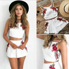 Womens 2 Piece Beach Set Cropped Top Shorts Playsuit Summer Floral Romper Dress 8 # 2964 Black Bow