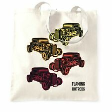 Vintage Tote Bag Flaming Hot Rods Cars Colourful Vintage Classic