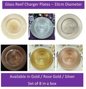 Glass Charger x8 Plate Weddings Silver Rose Gold 33cm Diameter Event Decor UK