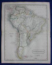 Original antique atlas map of SOUTH AMERICA, Samuel Butler, 1844