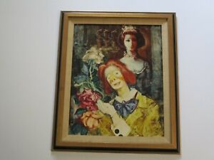 STRANGE 1970'S PAINTING PORTRAIT QUEEN PRINCESS CROWN W CLOWN MODERNISM VINTAGE