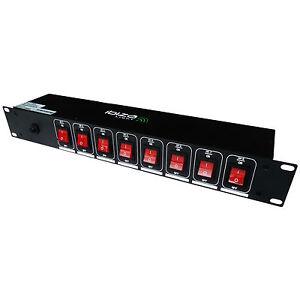 """Stromverteiler IBIZA LC806S 8-fach Steckdosenleiste Licht 19"""" Rack Schaltboard"""