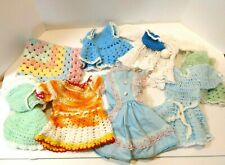 Vintage Collection Of Crotchet & Handmade Doll Clothes Bonnet Small Doll Blanket