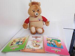 "1985 Worlds of Wonder 17"" Teddy Ruxpin Bear w/ 1 Tape & 3 Books"