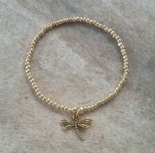 Gold Beaded Dragonfly Charm Stretch Bracelet HANDMADE