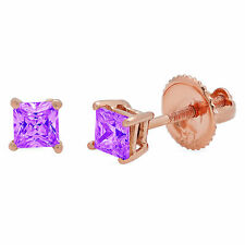 1 ct Princess Solitaire Studs Natural Amethyst 18k Rose Gold Earrings Screw back