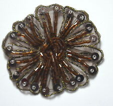BROWN BEAD + SEQUIN FLOWER TRIMMING Embroidered Sew On Patch Badge APPLIQUE