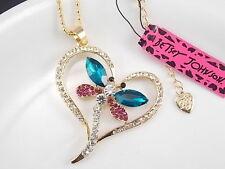 Betsey Johnson fashion jewelry Rhinestones dragonfly pendant necklace # B105