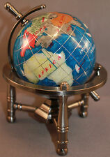 Genuine Multi-Gemstone Desktop Globe Pewter Tone Base Turquoise Globe Free S&H