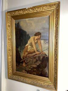 Grand tableau ancien XIX exceptionnel Romantisme portrait pêcheur huile marine