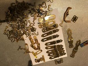 Variety Hasps Hooks Vintage Hardware NOS Brass Finish Doors Cabinets