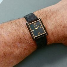 Rare 70's vintage Cartier Tank Watch, Wood Dial & Case Sides,17 Jewel,Croc Strap