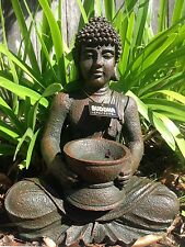 29cm Buddha Statue / Ornament with Holder - Perfect for Garden, Patio or Indoors