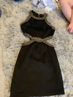 Miss Guided Uk 8 Black Cut Off Black And Gold Bodycon Dress