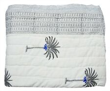 Hand Block Palm Tree Print Indian Ethnic Winter Cotton Reversible Coverlet Quilt
