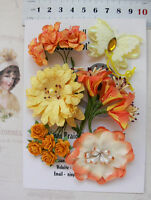 TANGELLO YELLOW Flower Mix - 5 Styles 13 Paper & 1 Fabric Butterfly 10-50mm VB5