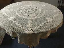 More details for vintage antique square beige handmade crocheted cotton tablecloth 134x134cm
