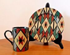 "Fitz and Floyd ""Hopi"" Pattern 424 Japan  4 Sets of Coffee Mugs and Salad Plates"