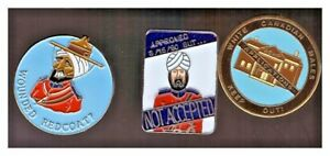 RCMP '80s anti-turban pins:Wounded Redcoat; Approved but not accepted; White Out
