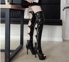 Womens Gladiator High Heels Platform Open Toe Over Knee High Boots Buckle Shoes