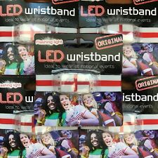 10 x England Wristband with Led - Fan Armband St George flag with Flashing Light