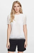Tory Burch White Crescent Guipure Lace S/S Top $295 NWT 12
