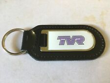 BLACK LEATHER KEY FOB WITH PRINTED TVR LOGO KEYRING