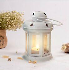 Christmas Decorations Iron Lantern With Tealight Candle (White) Set of 1 Pcs