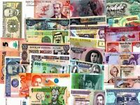 Bundle of Over 50pcs Different Countries World Currency with Polymer BankNotes