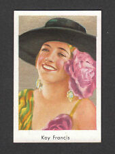 Kay Francis Movie Film Star Vintage Cigarette Card