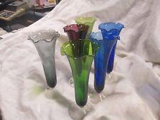 VTG ITALY BALBOA VENETIAN GLASS SET OF 6 FLUTE RUFFLE TOP  CHAMPAGNE GLASSES