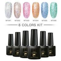 6Pcs MTSSII UV Gel Polish Kits Soak Off Nail Art Pure Glitter Varnish Manicure