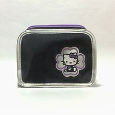 HELLO KITTY Sanrio Black and Purple Cosmetic Purse Pencil Pouch Bag with Clover