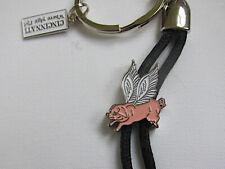 Vtg Pink Flying Pig Keychain Enameled Key Ring Cincinnati Where Pigs Fly Nip