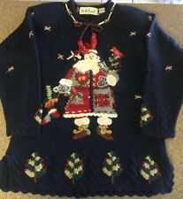 Belle Pointe Christmas Sweater Sz Small 100% Wool Country Santa Claus Beautiful