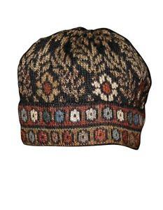 "100% Alpaca Hand Knitted Winter Beanie Hat ""Tibet Pattern"""