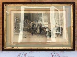Large Antique Original 1880 Chirico Engraving Print UN MATRIMONIO IN BASILICATA