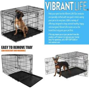 Folding Metal Dog Crate Kennel 48 XL Double Door Heavy Duty Wide Pet Tray Cage