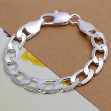 925 sterling silver filled 12mm curb chain bracelet Men's fashion jewelry