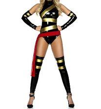 Latex Look & Metallic Liquid Metal Black and Gold Ninja Super Hero Fancy Dress