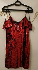 Zara Red Sequin Stretch Spaghetti Strap Bodycon Mini Dress Size Small BNWT