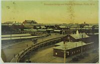 .PERTH , HORSESHOE BRIDGE & RAILWAY BUILDINGS WEST AUSTRALIA 1907 POSTCARD