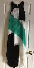 NEW BUFFALO David Bitton Woman's Uneven Hem Pleated Flowy Dress sz XS